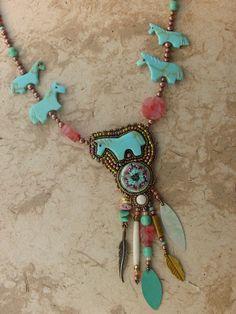 Turquoise Horse necklace by freespiritheidi / Heidi Kummli