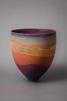 Ceramic art by Pippin Drysdale. Ceramic Pots, Ceramic Clay, Ceramic Painting, Glazes For Pottery, Ceramic Pottery, Pottery Art, Pottery Painting Designs, Pottery Designs, Keramik Design