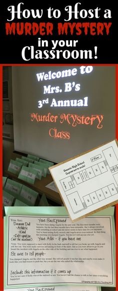 Your students will love being a part of the story, walking around to collect clues, and competing to see who can find the murderer first! A Classroom, Future Classroom, English Teacher Classroom, High School Classroom, English Classroom Activities, Escape The Classroom, Holiday Classrooms, English Teachers, Teacher Blogs