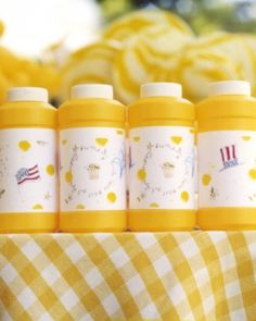 Easy DIY party favor tip: customize bubble containers with your own printable labels affixed with double-sided tape.