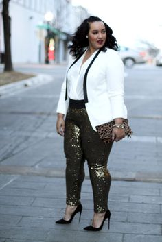 Plus Size New Years Eve Outfit | Plus Size Gold Sequin Pants | Holiday Style