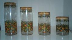 Vintage Set of 4 Canisters Jars Glass France Vegetable Design Cork Lids