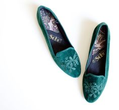 9 Green velvet smoking shoes by LeMewVintage on Etsy, $36.00
