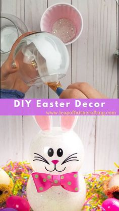 Make your own Easter decor with supplies from the Dollar Tree. A fishbowl glass Easter bunny is an easy and fun craft idea that can also be used as a nightlight! Plus a FREE Cricut SVG file! crafts ideas beautiful DIY Easter Decor crafts for summer Easter Projects, Bunny Crafts, Easter Crafts For Kids, Easter Stuff, Diy Projects, Oster Dekor, Diy Osterschmuck, Easy Diy, Diy Ostern