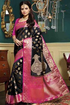 Black & Pink Silk Bridal Saree With Unstitch Blouse