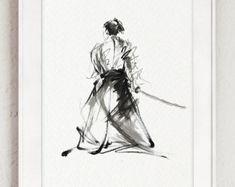 Painting Wall Decoration Ronin Dragon Samurai China Ink