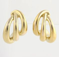Modern Earrings - 14k Yellow Gold Open Design Lightweight Hollow Polished Fine #HalfHoop $189.99