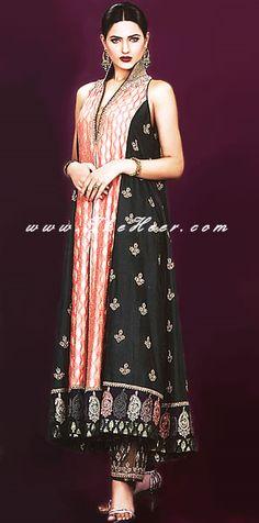AK6764 Black Crinkle Chiffon Anarkali Style Paki Fashion, Pakistani boutique, Anarkali Outfits, Anarkali Clothing, Designer Anarkali Pishwas Ind Anarkali