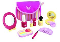 Wonderworld Pretend Pinky Cosmetic Girl Toy Set - 9 Piece Wooden Essential Makeup Set * Visit the image link more details.