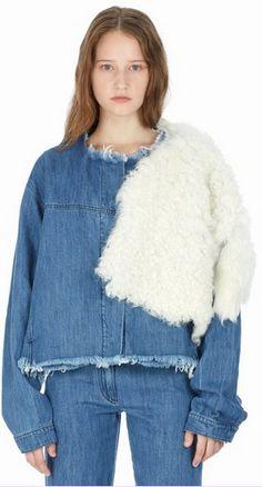 Marques'Almeida Sheepskin Application Denim Jacket