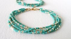 Turquoise and gold bracelet aqua beaded by StephanieMartinCo