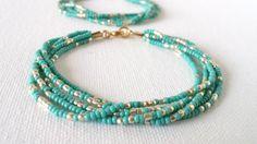 Turquoise and gold bracelet aqua beaded by StephanieMartinCo