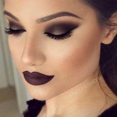 #eyebrows #brows #lips #lashes #fullface #makeup #make #up #eyeshadow #dark #lip #weheartit
