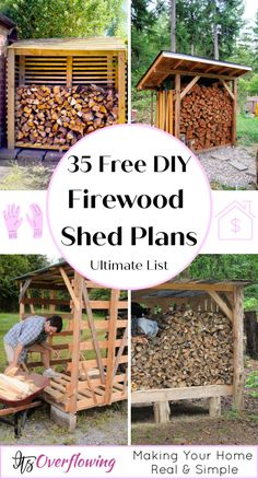 Build durable and stylish wood storage sheds with this list of 35 free DIY firewood shed plans that inclue details to build and plan a shed like a pro. Outdoor Firewood Rack, Firewood Shed, Firewood Storage, Wood Storage Sheds, Storage Shed Plans, Wooden Sheds, Outdoor Storage Sheds, Storage Ideas, 3 4 Face