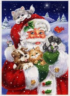 Santa and puppies by Janet Skiles