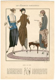 "1921-1940, Plate 002. Fashion plates, 1700-1955. The Costume Institute Fashion Plates. The Metropolitan Museum of Art, New York. Gift of Woodman Thompson (b17520939) | This 1921 fashion plate captures ""elegant Parisians"" #fashion"