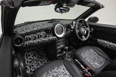 Geometric patterns mark this custom-built MINI Roadster, inside and out.