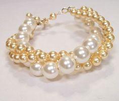 Ivory & Gold Pearl Twisted Bridal Bracelet 14k Gold 3 by bonitaj, $58.00