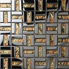 Crystal Mosaic Tile Sheets Plated Glass Wall Tiles Kitchen Backsplash Grid Glass Mosaics Bathroom Shower Tiles Designs - s2911