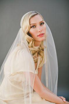 GOLD Crystal Juliet Cap Veil Wedding Veil Vintage by VeiledBeauty