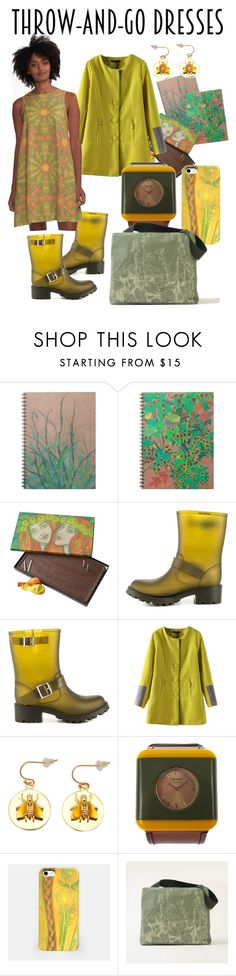 """Sunny outfit for rainy days. )))  All printed items are available in my stores. ATTENTION! Polyvore mark """"Sold out"""" is an error, check the links anyway!   #yellow, #olive, #green, #print, #printed, #dress, #zazzle, #redbubble, #liveheroes"""