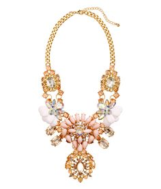 Short rhinestone necklace with pastel pink bead clusters. | H&M Pastels