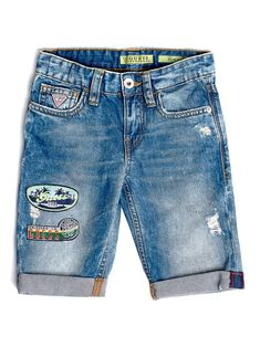 The slightly used look and contrasting inserts bring glam edge to these cotton jeans shorts