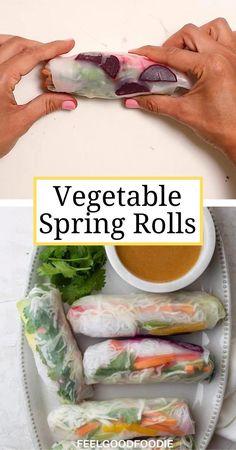 Vegetable Spring Rolls, Vegetable Snacks, Veggie Recipes, Asian Recipes, Whole Food Recipes, Vegetarian Recipes, Cooking Recipes, Healthy Recipes, Rice Vegan Recipes