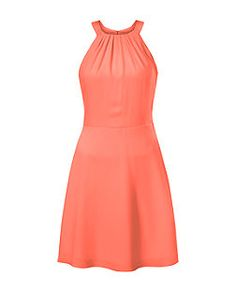 Coral Crepe Ruched Neck Skater Dress   New Look
