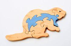 Castor en bois puzzle pour enfants par WoodenWorkJoy sur Etsy