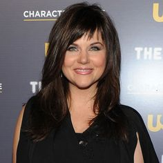 Tiffani Thiessen, cute and edgy bangs