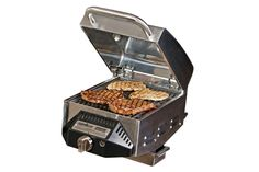 The SmokePro BBQ Sear Box from Camp Chef allows for searing while cooking with a wood-fired pellet grill. Grill grates are cast iron and heat Camp Chef, Grill Grates, Gas Bbq, Image House, Grilling, Camping, Kohls, Box, Black