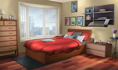 Can someone help me edit this bedroom so it's daytime instead of nighttime ; I'd appreciate it 😅! Fancy Bedroom, Bedroom Night, Bedroom Red, Bedroom Decor, Episode Interactive Backgrounds, Episode Backgrounds, Bedroom Door Design, Modern Bedroom Design, Modern Bedrooms