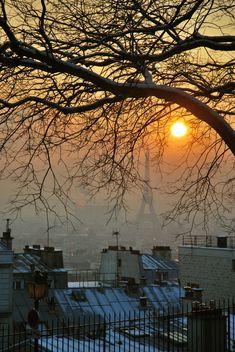 Winter sunset in Montmartre, Paris.