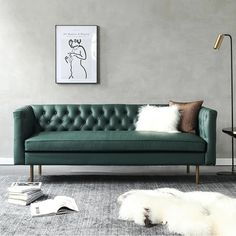 S521 3 Seater Sofa, Dark Green Leather | Weilai Concept