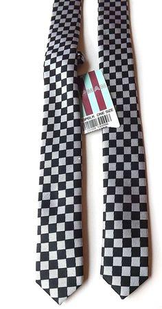 "TOPMAN New Skinny Neck Tie Black Silver Check 1.5"" Blade RUDE BOY SKA FREE P&P #Topman #Tie"