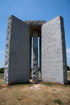 Known as the American Stonehenge, the origin of the Georgia Guidestones (erected March 22nd, 1980) in Elbert County, Georgia is equally mysterious. The three large granite stones contain ten cryptic guides inscribed in the eight most common languages – English, Spanish, Swahili, Hindi, Hebrew, Arabic, Chinese, and Russian.