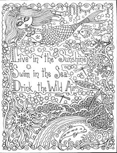 instant download live in the sunshine mermaid coloring page crafting page scrap booking page cut mermaid