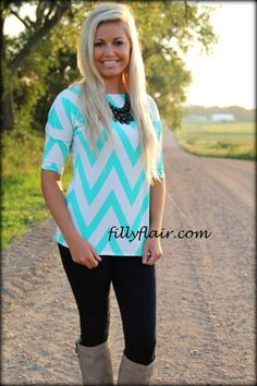 Any Day Minty chevron Top - Filly Flair