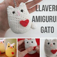Tutorial llavero gato en amigurimi Crochet Animals, Crochet Toys, Crochet Baby, Knit Crochet, Crochet Key Cover, Crochet Designs, Crochet Patterns, Kawaii Crochet, Idee Diy