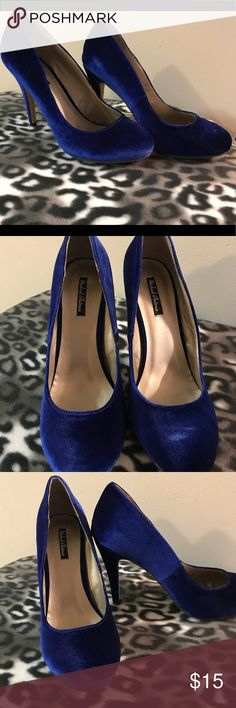 Blue Velour Heels Fabulous Blue velour heels perfect pop of color for a holiday party. Michael Antonio Shoes Heels