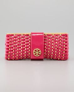 Very cute!  Woven Patent & Straw Clutch by Tory Burch at Neiman Marcus.
