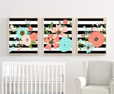 Add these beautiful floral Nursery Wall Decor to finish the nursery room. HOW TO ORDER-Choose Print Size-Choose Color or Custom Color (color chart is in listing)If Custom Color was chos. Woodland Nursery Decor, Nursery Wall Decor, Girl Nursery, Nursery Room, Bedroom Decor, Floral Nursery, Nursery Colours, Baby Room Wall Art, Chart