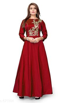 Gowns Classy Designer Women Gowns Fabric: Gown: Tafeta Silk  Inner: Cotton Sleeves: 3/4 Sleeves Are Included Size: Bust -  Up To 36 in to 40 in  Sleeve Length - 18 in Length: Up To 54 in Type: Semi Stitched Description: It Has 1 Piece Of  Women Gown Work: Embroidery Country of Origin: India Sizes Available: Free Size, Semi Stitched   Catalog Rating: ★4 (446)  Catalog Name: Deal of the day #315 CatalogID_76104 C79-SC1289 Code: 785-671384-8451