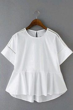 Refashion a white button down shirt into a peplum top - like the lower back, would place buttons in back as well