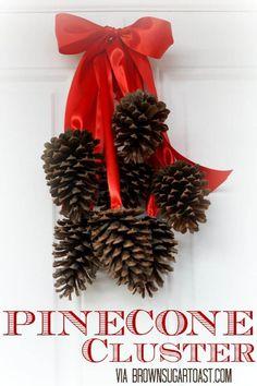 Bunch Of Pinecones Beribboned In Red