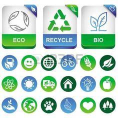 생태 인포 그래픽 요소 - 에코 표지판 및 기호 설정 photo