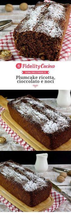 Plumcake ricotta, cioccolato e noci Sweet Corner, Plum Cake, Cake & Co, Bakery Cakes, Sweet Cakes, Creative Food, Vegan Desserts, Chocolate, Cupcake Cakes