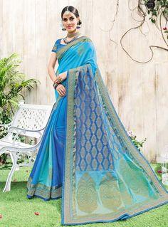 Blue Art Silk Saree With Blouse 86871