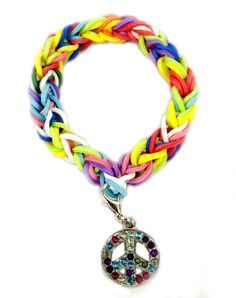 Peace Charm Stretch Band Bracelet: made w colored rubber bands